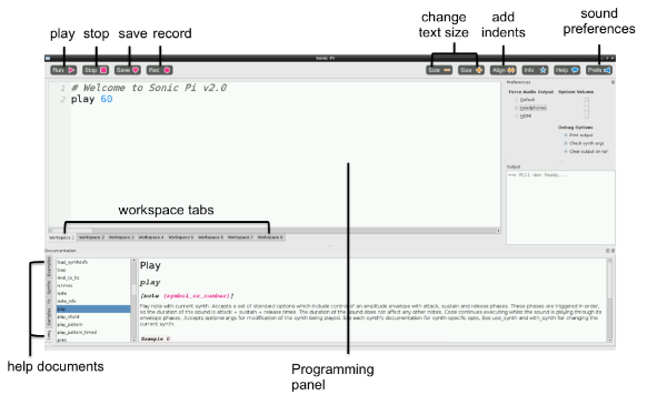 The Sonic Pi screen